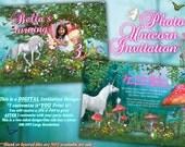 Photo Unicorn Birthday Card, Fairy Unicorn Card, Unicorn Party, Unicorn Invitations, Fairies and Unicorns