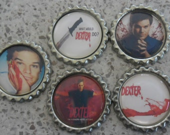 5 x Dexter Inspired Flattened Silver Bottle Caps - Great for Jewellery, Cards, Keyrings