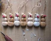 Snowman ornament, Christmas tree ornament, wood ornament, wooden snowman, miniature wood carving, holidays decoration