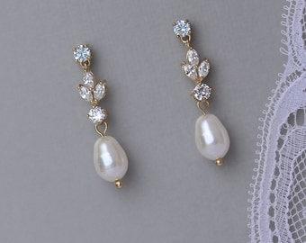 Gold Crystal Earrings, Pearl Drop Bridal Earrings, Pearl Bridal Jewelry, Wedding Earrings, ASHLEY GP
