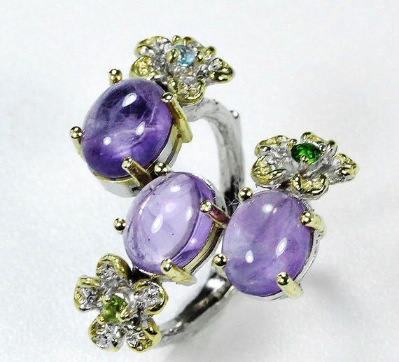 Natural 43 TCW Amethyst, Peridot, Chrome Diopside, Topaz  gemstones, 14kt Yellow & White Gold Ring Size 7