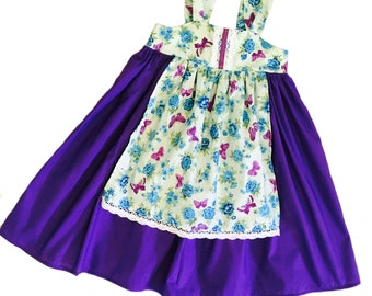 Girls Fall Apron Knot Dress Purple Floral Cluny Lace