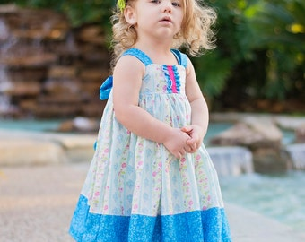 Girls Knot Dress Pink and Blue Floral Stripes Party Birthday Easter Dress Toddler Baby