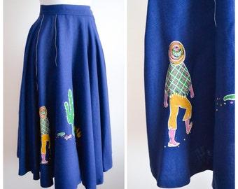 1940s Blue linen novelty mexican print skirt / 40s Cactus printed full skirt - S