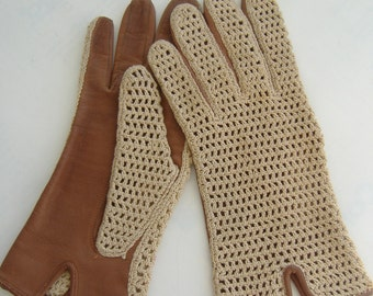 Vintage Ladies' Leather and Mesh Driving Gloves