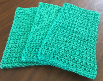 Crochet Wash Cloths, Crochet Dish Cloths, 100% Cotton, Handmade Washrag, Set of 3 Kitchen Dishcloths, Facial Cloth