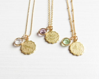 Zodiac and Birthstone Necklace | Horoscope Necklace | Custom Zodiac Necklace | Dainty Zodiac Necklace | Zodiac Necklace Gold | Gift for Her