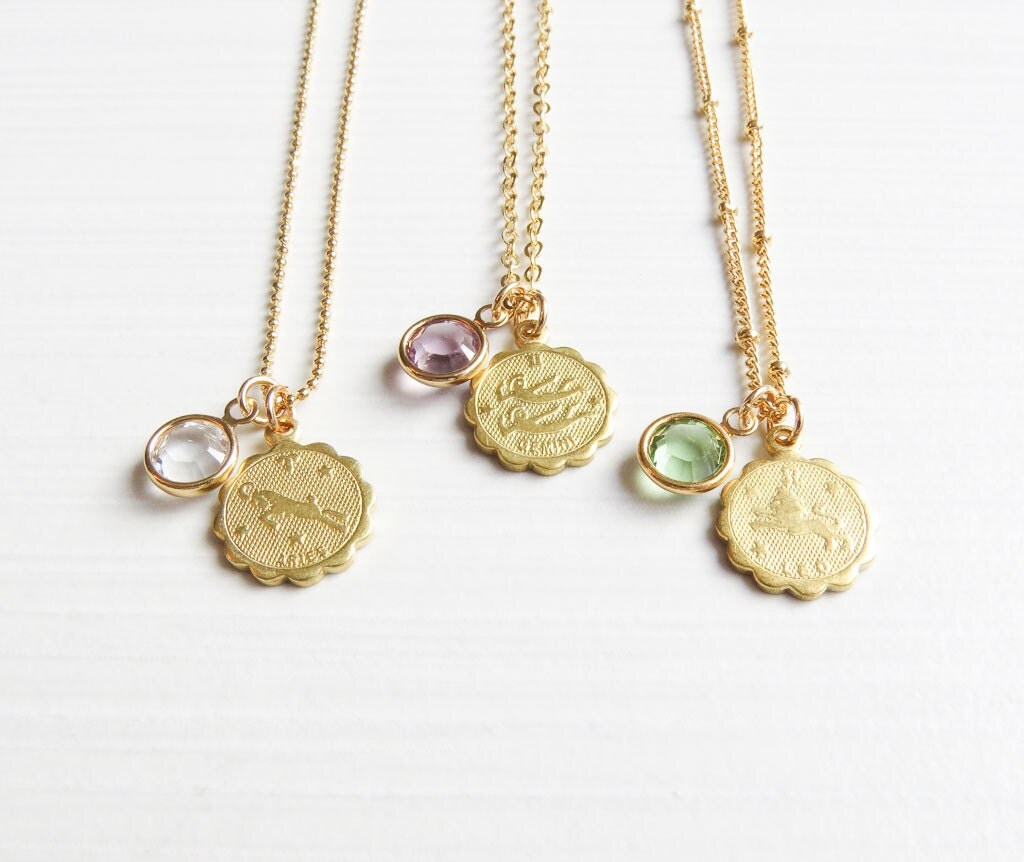 birthstone zodiac necklace gold birthstone and zodiac. Black Bedroom Furniture Sets. Home Design Ideas