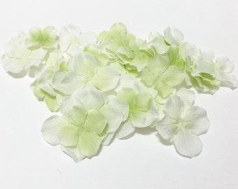 Artificial Flower Petals - 50 CREAM GREEN Hydrangea Blossoms - Silk Flowers, Flower Crown, Wedding