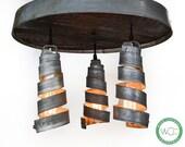 """RADIANCE - """"Tripoli"""" - Adjustable Wine Barrel Head Ceiling Light - 100% RECYCLED"""