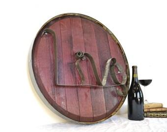 Barrel Head and Ring Art - LIVE - Authentic Wine Barrel Head Sign / Napa Style / Unique Wall Art / Home Decor / Live Laugh Love