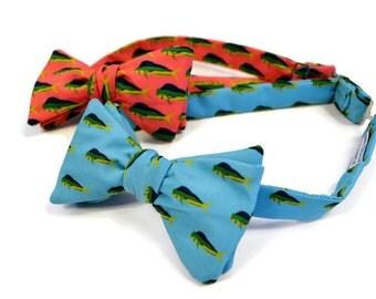 Mahi Mahi Men's Adjustable Bow Tie, Self-tie Bow Tie, Pre-tied Bow Tie, Fish Bow Tie, Coastal Bow Tie, Beach Wedding Tie, Preppy Bow Tie