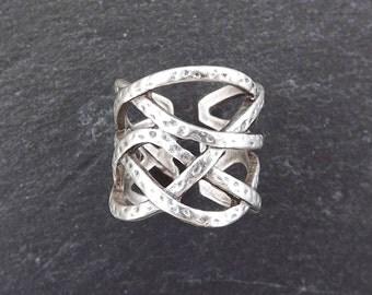 Gamze Weave Adjustable Silver Ethnic Tribal Boho Geometric Statement Ring - Authentic Turkish Style