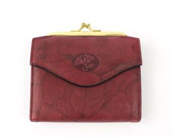 VINTAGE Soft Leather Wallet Burgundy Floral Embossed