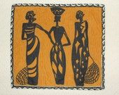 Three Women Wall Hanging Quilted Wall Hanging Three African Women Wall Hanging