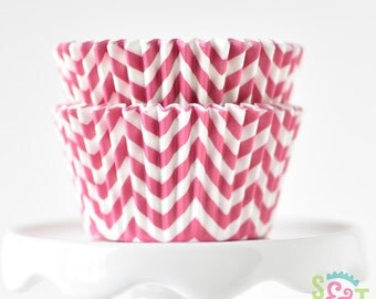 Chevron Pink BakeBright GREASEPROOF Baking Cups Cupcake Liners | ~30 count