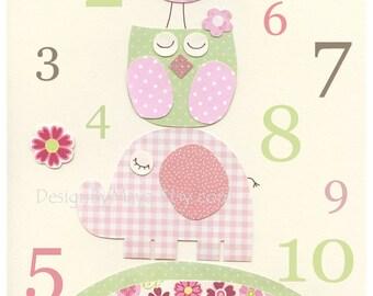 Nursery wall art print, Baby girl room decor, baby elephant, hayley number print, owl nursery decor, baby girl art, bright pink light pink