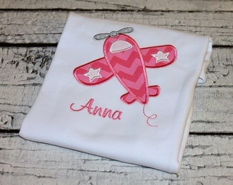 Girl's Airplane Shirt, Airplane Birthday, Transportation Birthday, Personalize with your choice of fabric and thread colors