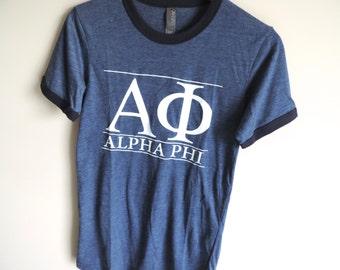 New Alpha Phi Blue & White Stripe Ringer Tee Short Sleeve Shirt // Size S-2XL