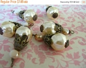 sale Large dimpled Faux baroque Cream Pearl Dangle Drops with cream crystals and antique brass 2 pcs.