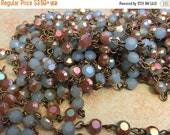 sale Vintage Style Handmade in USA Linked Rosary style Chain Serenity blue rose gold flash Flat faceted crystal beads