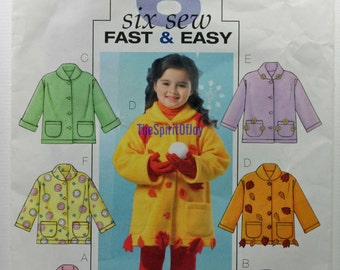 Toddler Girls Size 2 3 4 5 Butterick B4336 Causual Fashion Jacket Spring Fall Fleece Child Kids Children Uncut Sew Sewing Pattern