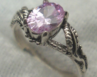 Lavender CZ Leaf Ring, Hand Crafted Recycled Sterling Silver, Purple Cubic Zirconia, handmade European Beech tree leaves