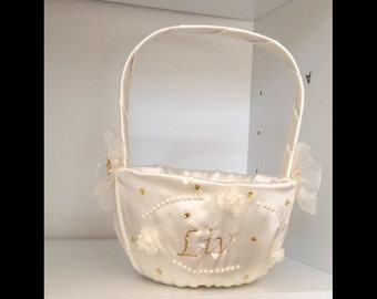Flower girl basket ivory or white with name or initials embroidery