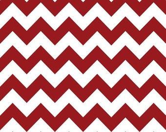 Summer Clearance Riley Blake Fabric - 1 Yard of Medium Chevron in Crimson