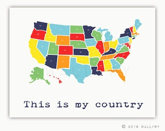 USA Map. Nursery decor us map for kids. Playroom decor world maps nursery art print. Modern map print USA nursery print by WallFry