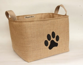 Paw Print Hessian Burlap Padded Storage Bucket- Machine Embroidered - Eco Rustic Jute Storage - UK - Toys, Leads, Collars, Dogs
