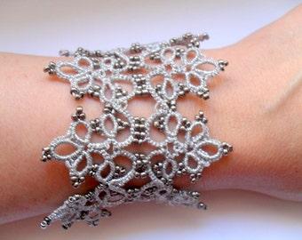 Silver lace bracelet, Fiber tatted cuff bracelet ,Tatting lace bracelet, Gray lace bracelet, Filigree bracelet, Handmade jewelry