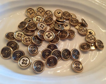 All the same button - 50 vintage gold metal shank buttons