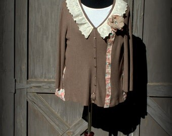 Upcycled, refashioned, eco-friendly, Boho, Ladies Cardigan Sweater, Light Brown, Size Large