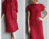 Late 30s / Early 40s Knit Set // Sugar & Spice 3 piece Knit Set // vintage 1930s knit set