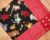 Best Friends Potholders--Red and Black Patchwork Potholders--Ready to Ship--Quilted Doggie Potholders