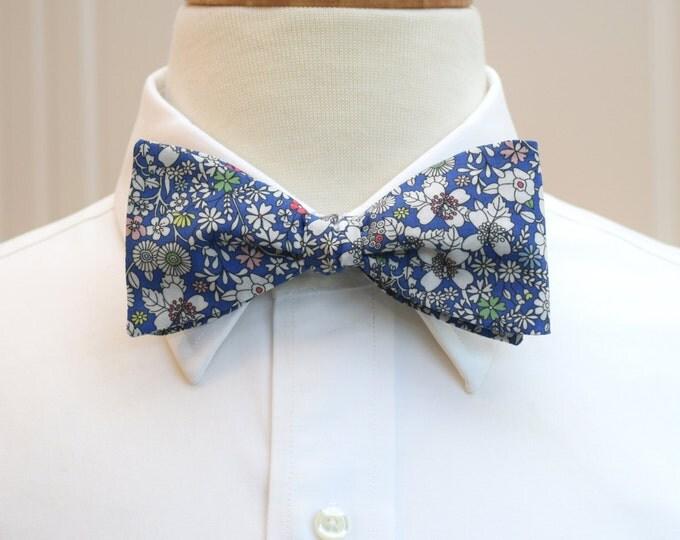 Men's Bow Tie, Liberty of London cobalt blue/ivory floral bow tie, June's Meadow, groomsmen/groom bow tie, wedding bow tie, tux accessory