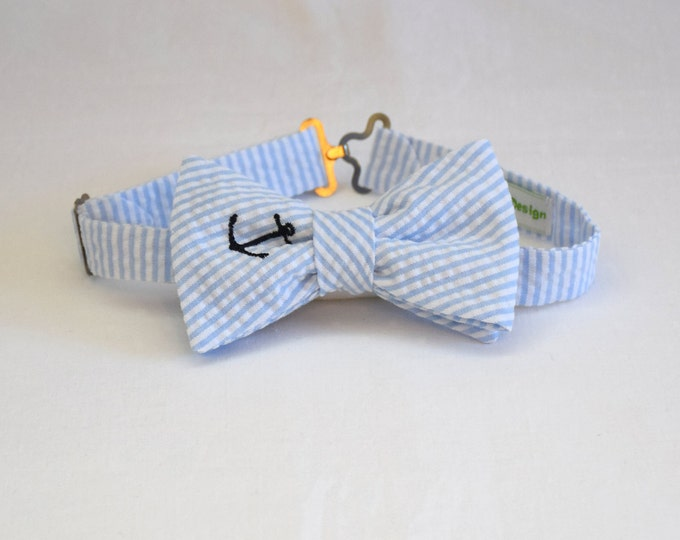 Boy's pre-tied Bow Tie, pale blue seersucker, navy anchor, father/son matching ties, wedding accessory, toddler bow tie, ring bearer bow tie