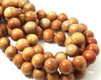 Narra Wood, 14mm, Light to Medium, Golden Brown, Round, Smooth, Natural Wood Beads, Large, 16 Inch Strand - ID 1657-LT