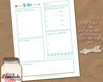 Daily Planner Printable To Do List Great for the Home and Office goals gold glitter arrows turquoise mason jars gratitude organizer