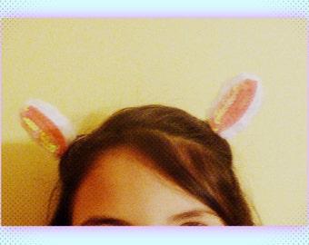 Clip in bunny ears, clip on rabbit ears, clip on white bunny tail, rabbit ears hair accessory, rabbit tail, clip on rabbit tail, bunny ears