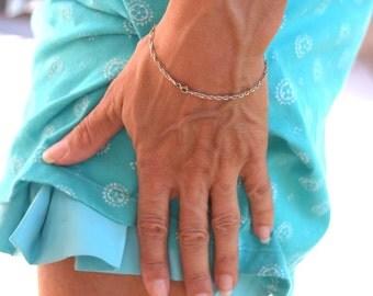 Sterling silver chain bracelet Italy vintage 925 silver Italian bracelet gift for her
