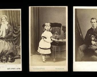 THREE 1860s Pet CDV Photos