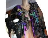 RESERVED For N. Unique  Silk, Silk Velvet Jacket Delicate Antique Black Silk Lace Poisonous Berries BLACK FLOWERS Fairy Romantic Tattered