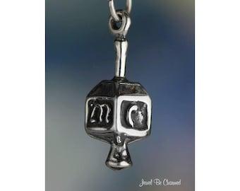 Sterling Silver Dreidel Charm Top Jewish Chanukah Hannukah Solid .925
