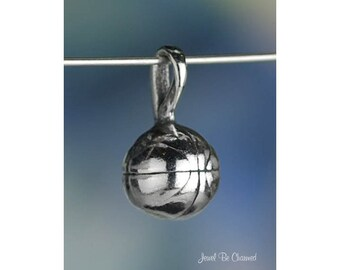 Sterling Silver Basketball CHARM or PENDANT Small Ball 3D Solid .925