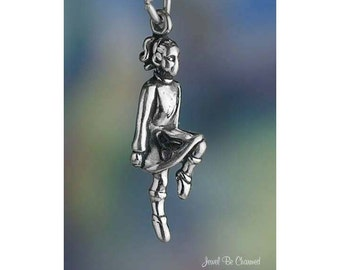 Sterling Silver Irish Dancer Charm Girl Dancing Ireland 3D Solid .925