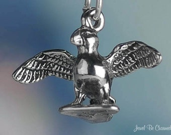 Sterling Silver Puffin Charm Sea Bird Ocean Coastal 3D Solid .925