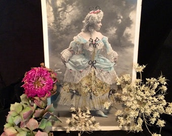 French Belle Epoque Postcard - Woman in Exquisite Costume - by Walery of Paris France - Dancer . Mlle. Fournier - Antique Photo