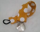 Yellow and White Polka Dot Binky Leash